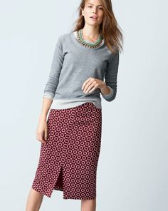 J.Crew weekend sweatshirt worn with the soft pencil skirt in rosewood   Get rid of the necklace, this would be a cute run around outfit!