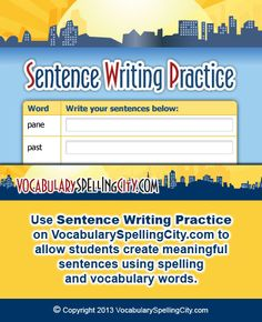 Use Sentence Writing Practice on VocabularySpellingCity.com to allow students create meaningful sentences using spelling and vocabulary words.