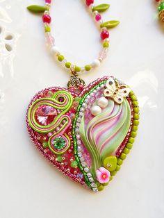 Shibori heart pendant with Soutahe acid lime by mysweetcrochet, $85.00