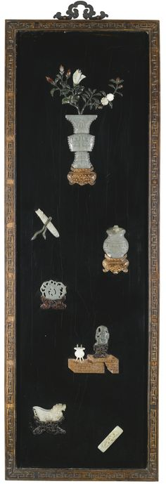 A PAIR OF JADE AND HARDSTONE-INLAID LACQUER PANELS QING DYNASTY, 19TH CENTURY each rectangular black lacquer panel inlaid with jade and agate plaques, variously depicting archaic vessels, seals and carvings, further embellished with inlaid wood stands and hardstone leafy floral stems, carved wood frame