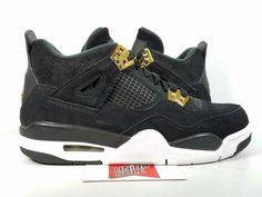 92d6e1f0f1b6 Nike Air Jordan IV 4 Retro BG GS ROYALTY BLACK METALLIC GOLD 408452-032 sz  5.5Y