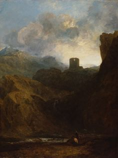 'Dolbadern Castle' by Joseph Mallord William Turner. Royal Academy of Arts, London. Watercolor Landscape Paintings, Fantasy Paintings, Seascape Paintings, Fantasy Landscape, Landscape Art, Turner Painting, Joseph Mallord William Turner, Or Noir, Royal Academy Of Arts