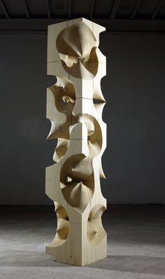 Korean sculptor Cha Jong-Rye works with wood as if it were clay or paint. She layers and sands hundreds of delicate wood pieces to create pockmarked c. Art Sculpture, Abstract Sculpture, Metal Sculptures, Bronze Sculpture, Wood Pieces, Land Art, Art Object, Wood Design, Wood Carving