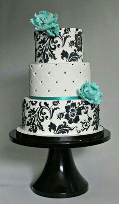 turquoise, black, and white damask wedding cake