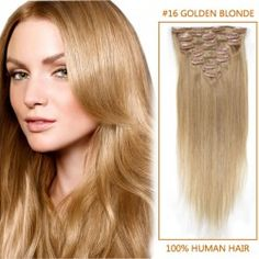 20 Inch #16 Golden Blonde Clip In Remy Human Hair Extensions 7pcs