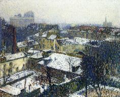 The Roofs of Paris in the Snow, the View from the Artist's Studio, 1895. Henri Martin