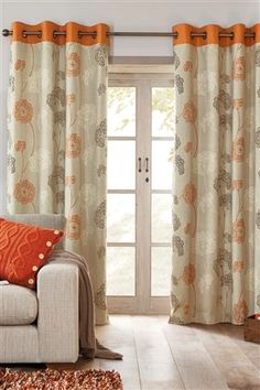 Orange Emily Floral Eyelet Curtains... Family Room