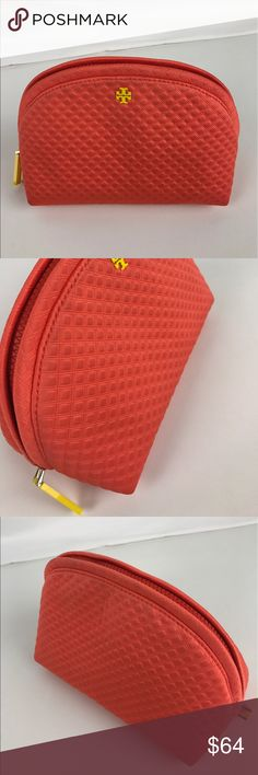 """Tory Burch Beach Neoprene Rounded Cosmetic Case Authentic. Gently used. Good condition inside and out  In quilted nylon with signature logo detailing, this Tory Burch cosmetic case is both durable and plush. Zip closure; lined. 7.75""""W x 4.75""""D x 5.75""""H. Style 12169172. RB633  Thank you for your interest!   PLEASE - NO TRADES / NO LOW BALL OFFERS / NO OFFERS IN COMMENTS - USE THE OFFER LINK :-) Tory Burch Bags Cosmetic Bags & Cases"""