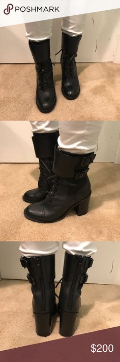 TORY BURCH boots Perfect winter boots!! *** chunky heel*** cute strap around top of boot! Laced front for an edgy look 👀 Tory Burch Shoes Heeled Boots
