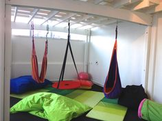 A hammock can be used for rocking, sitting, swinging and lying down in.  We do puzzles lying on our stomaches in them too! Children can select what type of vestibular input they need.