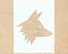 Piquées-main oeuvre Papercutting - tête de loup géométrique
