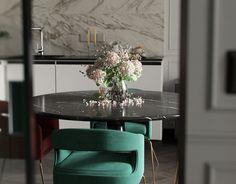 Michael Antonov on Behance Condo Living, Home Living Room, Living Spaces, Adobe Photoshop, Modern Classic Bedroom, Dining Room Table, Dining Chairs, Design Digital, Digital Art