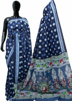 New handblock printed cotton sarees with blouse piece Indigo Saree, Brides And Bridesmaids, Cotton Saree, Printed Cotton, Women Wear, Blouse, Sarees, Prints, How To Wear