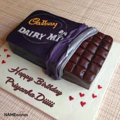 Delicious, rich and moist Cadbury chocolate cake is sure to become a favorite for anyone. Cadbury Dairy Milk Birthday Cake with Name is the best way to wish your loved ones on their birthday. Birthday Cake Write Name, Birthday Cake Writing, Happy Birthday Wishes Cake, Happy Birthday Cake Images, Cake Name, Cool Birthday Cakes, Birthday Msgs, Cake Designs For Birthday, Doctor Birthday Cake