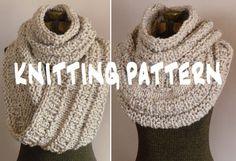 Knitting Pattern Chunky Infinity Scarf Cowl THE NEIL NECKWARMER, Knit Cowl…