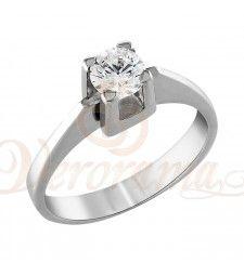 Μονόπετρo δαχτυλίδι Κ18 λευκόχρυσο με διαμάντι κοπής brilliant - MBR_081