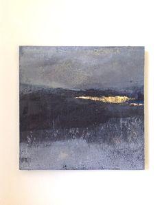 Enkaustik auf Leinwand - Original-Gemälde - abstrakte Landschaft, zeitgenössische Kunst - Minimal-Art, abstrakter Expressionismus, schwarz und weiß