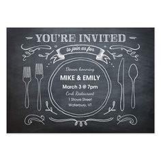Renee Pulve - Chalkboard Dinner Party - invite and ecard