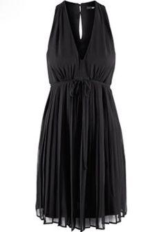 So Pretty! Love the Keyhole Back and the Frnt Ribbon Tie! Black Pleated V-neck Knee Length Chiffon Dress - Happy Hour