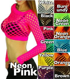 long sleeve fishnet crop tank, neon colors great for black light party