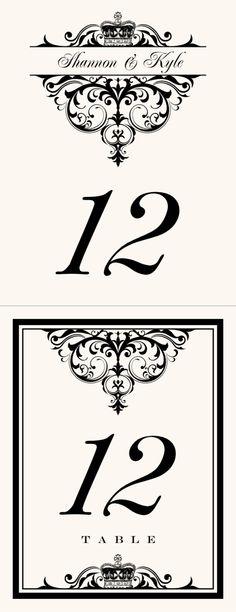 Crowned Vintage Monogram Wedding Table Numbers