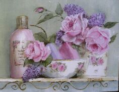 Ready to Frame Print - Rosy Bathroom - Postage is included World Wide Art Floral, Decoupage Vintage, Decoupage Paper, Shabby Look, Vintage Shabby Chic, Picture Postcards, Romantic Roses, Scrapbook Embellishments, Vintage Pictures