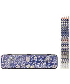 Blue Yoshi Print Pencil Tin and Pencils, Liberty London. Shop more stationery from the Liberty London collection online at Liberty.co.uk