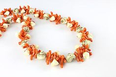 Branch Coral Necklace Vintage Shell Nautical Jewelry by RMSjewels