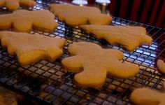 Gingerbread Cookie Recipe   1 1/2 cups of butter (3 sticks), softened  1 cup brown sugar  2 eggs  1 cup molasses  1 tsp. baking soda  3/4 tsp. salt  1 tsp. cinnamon  1/2 tsp. ground cloves  2 tsp. ginger  5 cups flour  wetdry;let the dough chill for a couple hours; roll it 1/4 inch thick;preheating your oven to 350 degrees. Bake 10-12 minutes