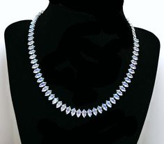 B David Rhinestone Necklace  Blue Aurora by thejewelseeker on Etsy