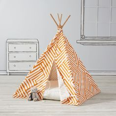 Shop Indoor Teepee.  Everyone needs a little space just for themselves.  This geometric kids teepee is the perfect home away from home while trailblazing the playroom frontier.  Plus, it was designed by just for us by Ampersand Design Studio.