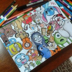 Uploaded by U N K N O W N. Find images and videos about cute, art and cool on We Heart It - the app to get lost in what you love. Art Drawings Sketches, Disney Drawings, Cute Drawings, Pencil Drawings, Disney Character Drawings, Drawing Disney, Drawing Cartoon Characters, Doodle Art, Disney Art