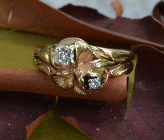 Rose Flower Ring // Solitaire Diamond Vintage Engagement Ring // Delicate Petal and Leaf Natural 14K Gold Ring $685