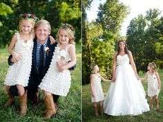 Flower girls in ruffles for this Anne Barge bride's rustic outdoor wedding