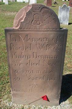 Uzal Ward - Gravestone of Rachel Denman, 1791, Madison, New Jersey.