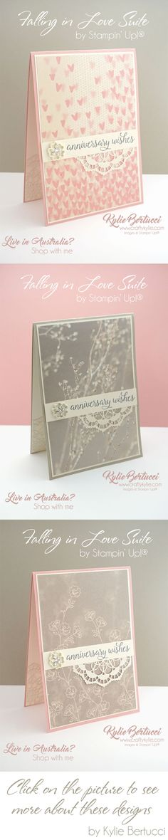 Kylie Bertucci - Falling in Love Suite by Stampin' Up!®. Click on the picture to see more about these gorgeous cards and what Kylie used. #stampinup #cardmaking #handmadecard #rubberstamps #stamping #kyliebertucci #loveitchopit