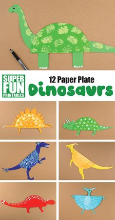 12 paper plate dinosaur crafts for kids! Make a diplodocus, triceratops, velociraptor, pterodactyl, anklyosaurus and more from a paper plate using our printable templates. So easy and fun! for kids easy boys 12 paper plate dinosaur crafts for kids Dinosaur Crafts Kids, Dinosaur Activities, Animal Crafts For Kids, Toddler Crafts, Craft Activities, Preschool Crafts, Diy Crafts For Kids, Fun Crafts, Art For Kids
