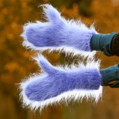 SUPERTANYA Hand knitted mohair mittens BLUE THICK fuzzy soft hand warmers SALE #SuperTanya #Mittens