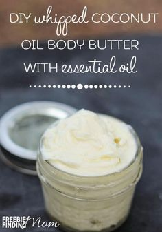 DIY Whipped Coconut Oil Body Butter With Essential Oils - Could your body use a hearty dose of moisture? Lather your skin with this luxurious DIY body butter. You can customize this homemade body butter by adding your favorite essential oils.