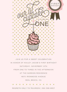 Lil' Cupcake Birthday Party Invitation. Design Fee by PartyGlamourShopBaby on Etsy https://www.etsy.com/listing/262671582/lil-cupcake-birthday-party-invitation