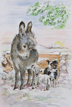 Snow Painting - Best Friends by Diane Matthes
