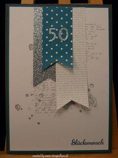 karte geburtstag mann 50 stampin stempelhexe Stampin Up Karten, Karten Diy, Stamping Up, Birthday Cards, Greeting Cards, Scrapbook, Crafts, Sterek, Wedding