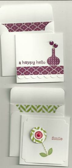 Happy Hello, Smile 3x3 cards -- love the patterned paper INSIDE the envelope. Such a cute idea!!