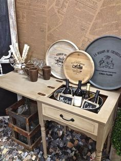 Sewing Table Turned Drink Station - The Home I Create