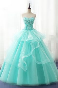 Light Green Tulle Strapless Long Layered Quinceanera Dress Sweet 16 Prom Dress - Green Dresses - Ideas of Green Dresses - - Cute Prom Dresses, Sweet 16 Dresses, Sweet Dress, Ball Dresses, Elegant Dresses, Pretty Dresses, Beautiful Dresses, Ball Gowns, Formal Dresses