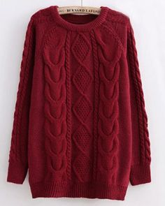 Wine Red Twist Pattern Round Neck Casual Pullover Sweater