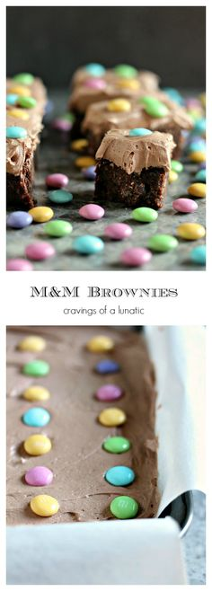 M and M Brownies- The Best Brownies in the World get a fresh makeover for Easter. This brownie recipe is simple to make and my entire family says this is their personal favourite. Get the recipe at cravingsofalunatic.com