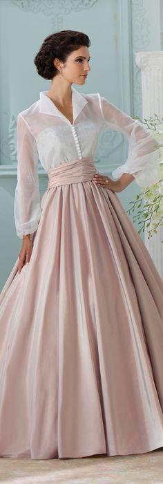 The David Tutera for Mon Cheri Spring 2016 Wedding Gown Collection - Style No. 116231 Leora #longsleeveweddingdress