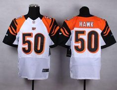 """$23.88 at """"MaryJersey""""(maryjerseyelway@gmail.com) Nike Bengals 50 A.J. Hawk White Men Stitched NFL Elite Jersey"""
