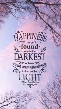 Happiness can be found even in the darkest of times if one only remembersa to turn on the light.  -- Albus Dumbledore